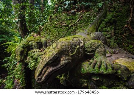 Statue in Sacred Monkey Forest, Ubud, Bali, Indonesia - stock photo