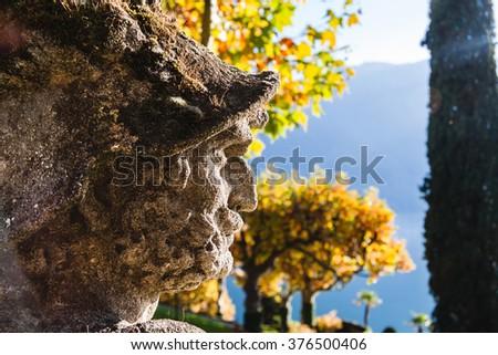 Statue in the park of Villa Balbianello in Lenno, Lake Como, Italy - stock photo