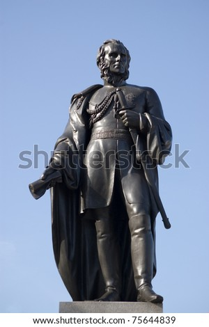 Statue in Trafalgar Square, London, of General Charles Napier (1782-1853). Former commander of the British army in India, he is credited with capturing Sindh province in what is now Pakistan. - stock photo