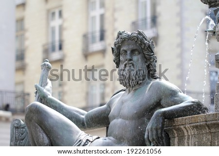 "Statue ""Le Cher"" on the fountain of the Place Royale of Nantes (France) - stock photo"