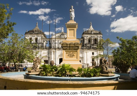 statue Maximo Jerez fountain Ruben Dario Park  Cathedral of Leon Nicaragua - stock photo
