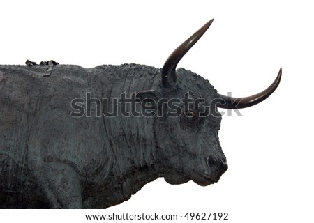 Statue memorial to the National Festival of the Bulls in Spain - stock photo
