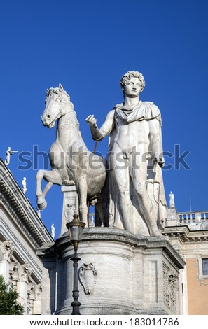 Statue near Palazzo Senatorio at Capitoline Hill. Roma (Rome), Italy  - stock photo