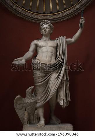 Statue of a nobel roman man, Rome, Italy, 2014 - stock photo