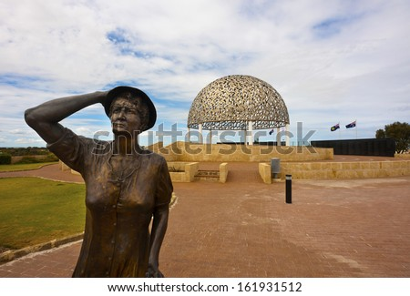 Statue of a woman waiting for her loved ones to return. HMAS Sydney 2 memorial, Geraldton, WA. - stock photo