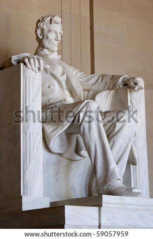 Statue of Abraham Lincoln at the Mall, Washington DC, USA - stock photo