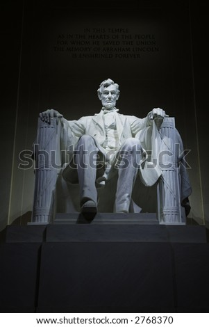 Statue of Abraham Lincoln in the Lincoln Memorial, Washington, D.C. - stock photo