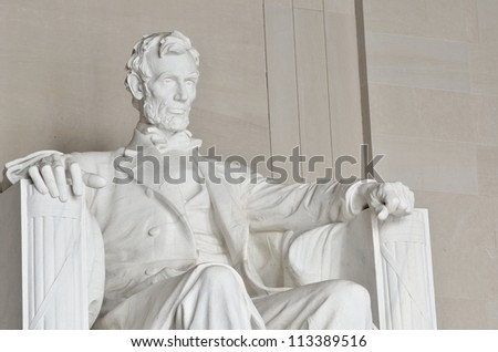 Statue of Abraham Lincoln in the Lincoln Memorial Washington DC USA - stock photo