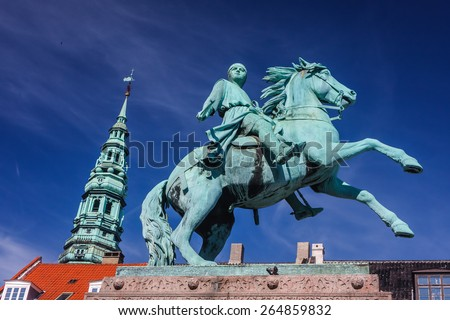 Statue of Absalon in the center of Copenhagen, Denmark - stock photo