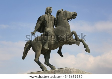 Statue of Alexander the Great in Thessaloniki, Makedonia, Greece - stock photo