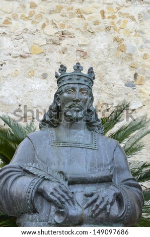 Statue of Alphonso X called the Wise, a Spanish king in The Port of Saint Mary, Andalusia, Spain
