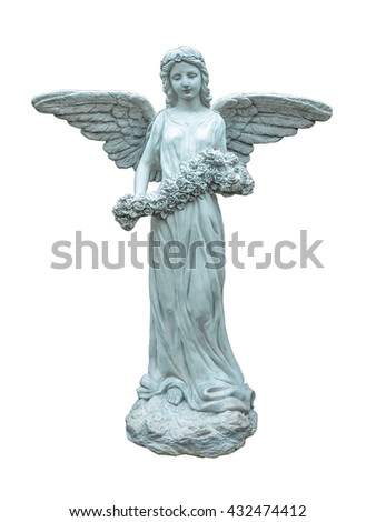 Statue of an angel with flowers isolated on white background.Angel sculpture