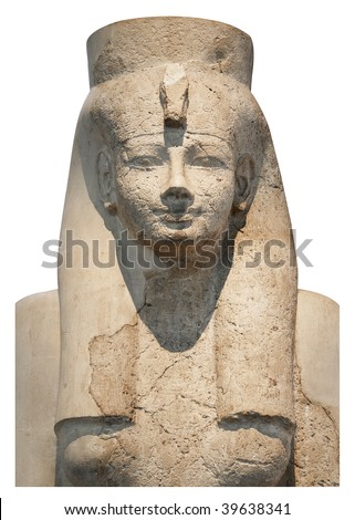 Statue of an Egyptian queen or goddess isolated in white - stock photo