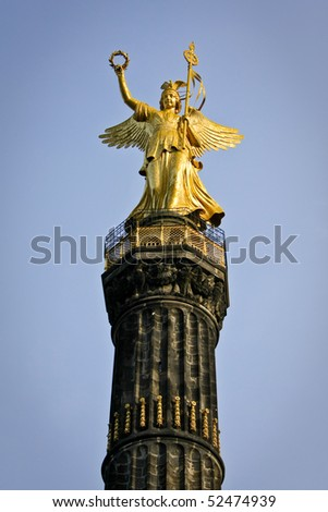 Statue of Angel On Victory Column Siegessaeule in Berlin (Germany) - stock photo