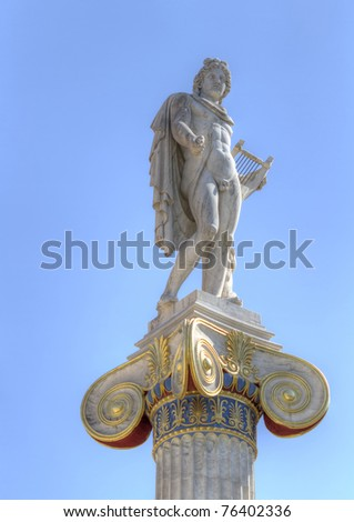 statue of Apollo from the academy of athens, greece - stock photo
