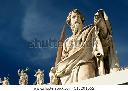 Statue of Apostle Paul in front of the Basilica of St. Peter, Vatican, Rome, Italy - stock photo