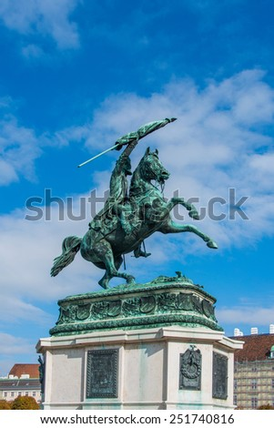 Statue of Archduke Charles in Vienna, Austria - stock photo