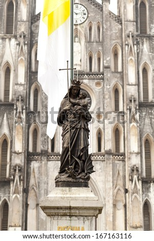 Statue of Blessed Virgin Mary, Saint Joseph Cathedral - Hanoi, Vietnam - stock photo
