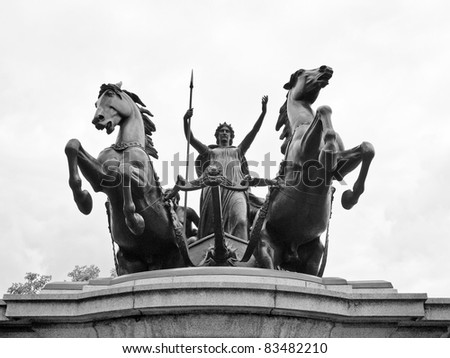 Statue of Boadicea Boudicca Queen of the Iceni who died AD 61 after leading her people against the Roman invader in UK - stock photo