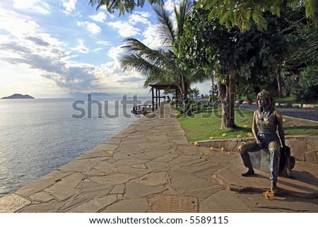 statue of brigitte bardot in the beautiful typical brazilian city of buzios near rio de janeiro in brazil - stock photo