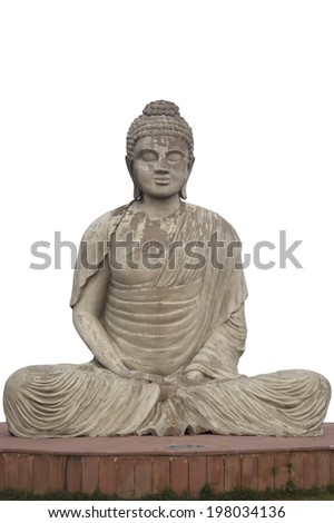 Statue of Buddha at the Garden of Silence in Chandigarh, India - stock photo