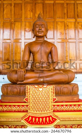 Statue of Buddha in Lotus position,Isolated on white background. (They are pubic domain or treasure of Buddhism, no restrict in copy or use, no name of artist appear.) - stock photo