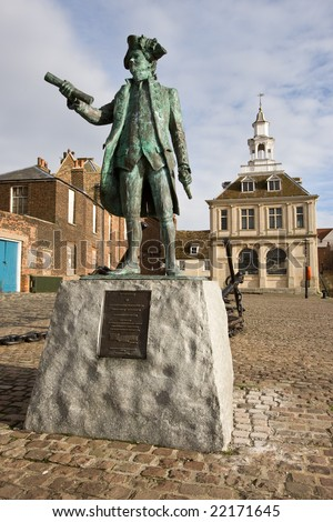 Statue of Captain George Vancouver RN sited in Kings Lynn England - stock photo