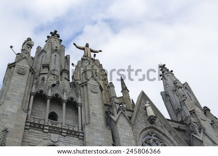 Statue of Christ. Tibidabo, Barcelona - stock photo