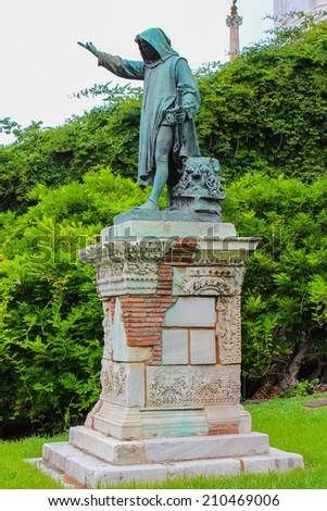 Statue of Cola Di Rienzo by Girolamo Masini, erected in 1877 near the Campidoglio, where he was killed - stock photo