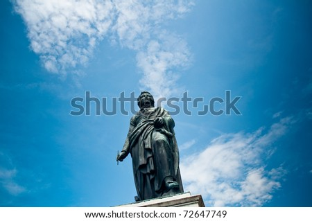 statue of composer W.A.Mozart in Salzburg - stock photo