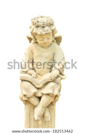 Statue of Cupid on white background - stock photo