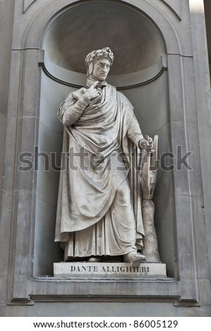 Statue of Dante in Florence , Italy - stock photo