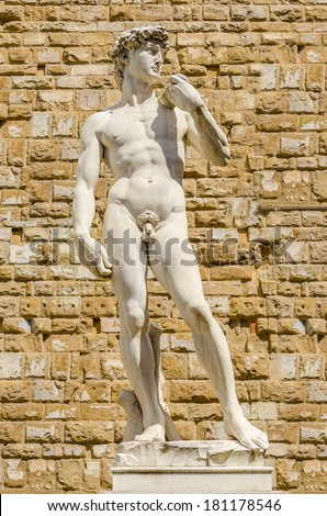 Statue of David by Michelangelo in Florence - stock photo