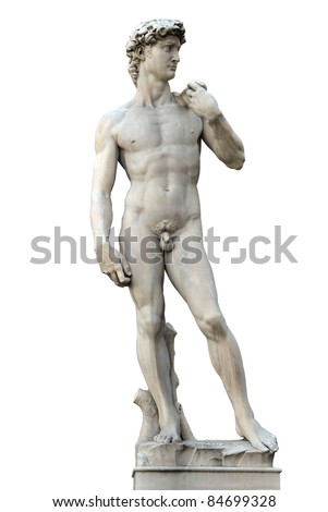 Statue of David isolated on white. Copy of Michelanegelo's original. Firenze, Italy - stock photo