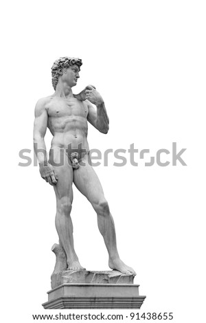 Statue of David isolated on white. Copy of original in Florence, Italy - stock photo