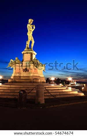 Statue of David, located in Micheal Angelo Park Florence, Italy - stock photo