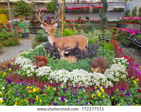 Beau Statue Of Deer In The Garden Flowers Shop, Beautiful Garden With Fake Deer,  Flower