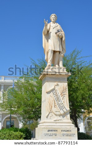 Statue of Dionysios on Solomos Square in  Zakynthos, Greece