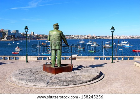 Statue of Dom Carlos I, King of Portugal, Cascais, Portugal - stock photo