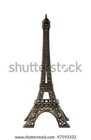 Statue of eiffel tower isolated on white - stock photo