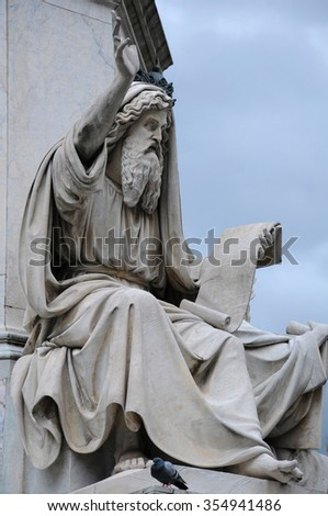 Statue of Ezekiel by Carlo Chelli at the base of the Column of the Immaculate Conception in Rome, Italy - stock photo