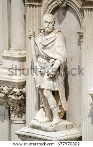 Statue of Francesco Maria I della Rovere, Duke of Urbino, on the exterior of the Doge's Palace in Venice, Italy.  The former soldier was sculpted in 1587  by Giovanni Bandini