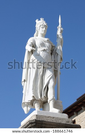 Statue of Freedom in front of the Town Hall building in San Marino Republic