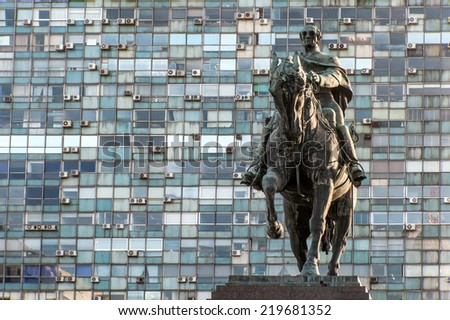 Statue of General Artigas in Plaza Independencia, Montevideo, Uruguay - stock photo
