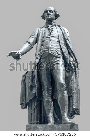 statue of George Washington at Federal Hall in New York in grey back - stock photo