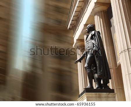 Statue of George Washington at Wall Street - stock photo