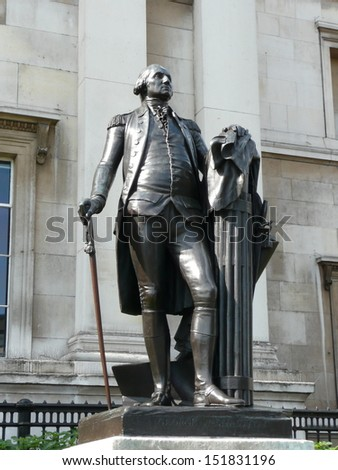 Statue of George Washington in front of the National Gallery, Trafalgar Square, London - stock photo