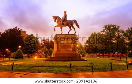 Statue of George Washington in the Boston Public Garden on a misty evening. Cross processed color. - stock photo