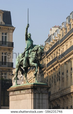 Statue of George Washington on horseback in the center of Paris, France.  - stock photo