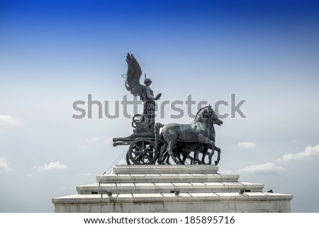 Statue of goddess Victoria on Monument of Vittorio Emanuele in Rome, Italy - stock photo